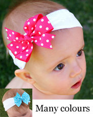stretch white baby headband and polka bow