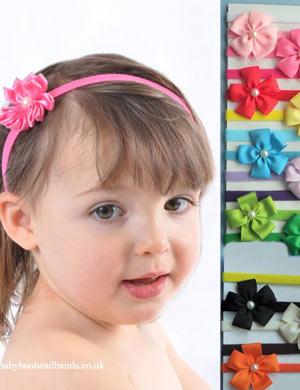 Five Petal Pearl Daisy Baby Headband