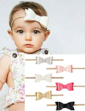 Stretch white headband & polka dot bow - many colours