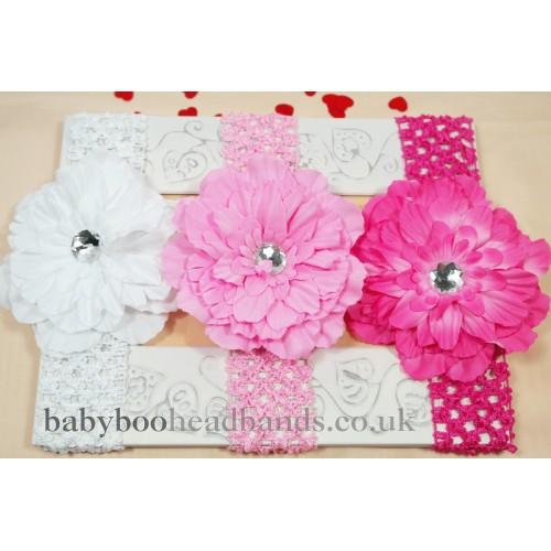 Comfy Crochet Diamond Peony Baby Headband