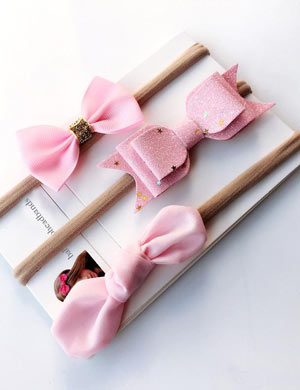 Pink Perfection Bow Baby Headband Set