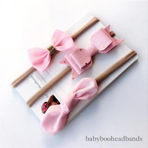 pink bow headband set