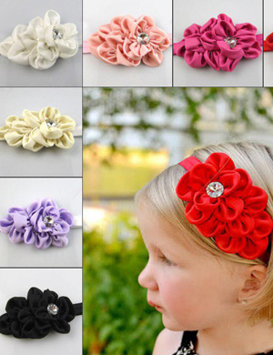 Satin Diamond Baby Headband