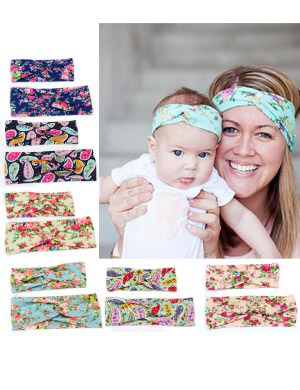 Mum & Me Luxury Fabric Floral Turban Headband Set