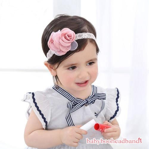 Double Luxury Satin Soft Pink Rose Baby Headband
