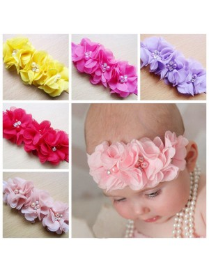 Triple Chiffon Flower & Pearl Luxury Baby Headband