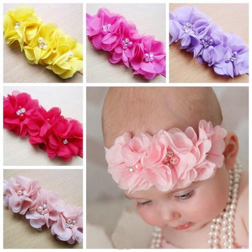 Triple Chiffon Flower & Pearl Luxury Baby Headband