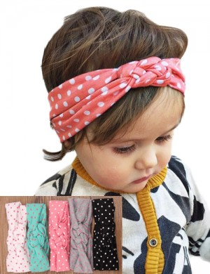 Vintage Polka Turban Knot Stretch Fabric Headband