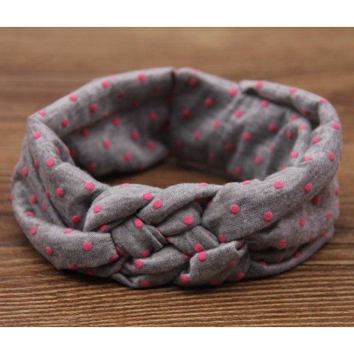 Vintage Polka Turban Knot Stretch Fabric Headband
