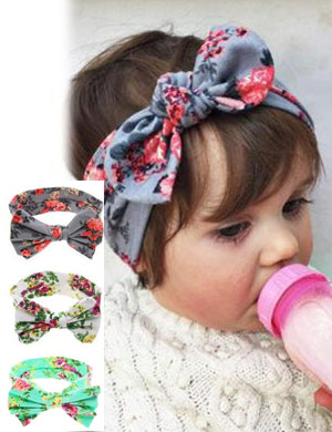Luxury Floral Retro Bow Baby Headband