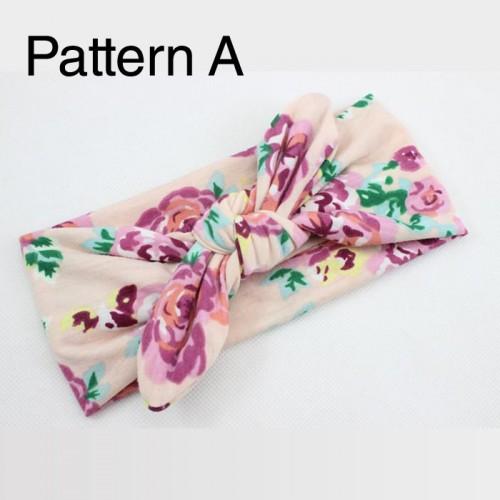 Luxury Fabric Floral Retro Bunny Ears Baby Headband