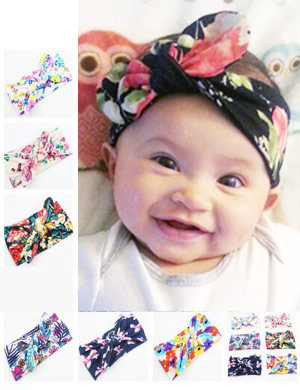 Luxury Fabric Floral Retro Bunny Ears Baby Headband