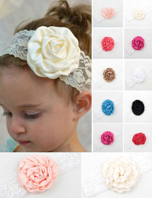 Vintage Lace Silk Flower Baby Headband