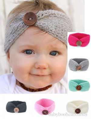 Luxury Button Handmade Knitted Baby Headwrap