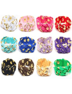 Cleo - Super Comfy Vintage Turban Knot With Gold Polka Dots Headband