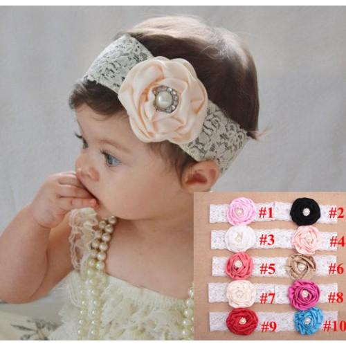 Luxury Vintage Lace Silk Flower   Pearl Baby Headband b4ba2b0e9e6