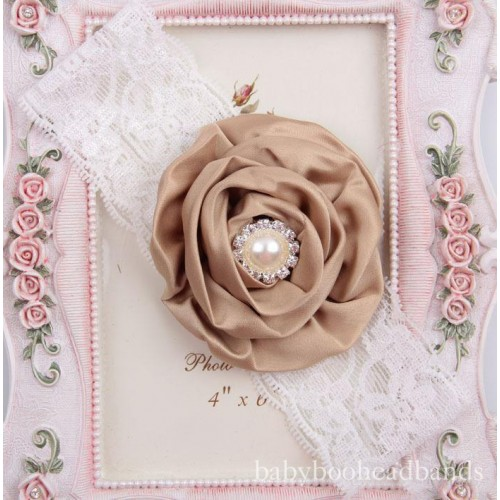 Luxury Vintage Lace Silk Flower & Pearl Baby Headband