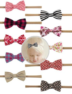 Luxury Pattern Collection Boutique Mini Bow Baby Headband