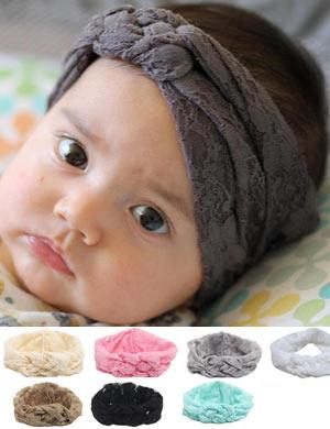 Vintage Lace Turban Knot Baby Headband - Boho