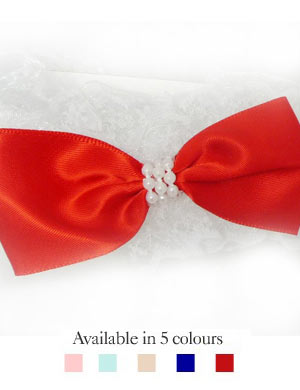 Posh Pearl Silky Bow & Lacey Baby Headband