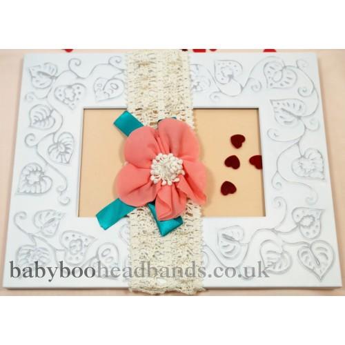 Crochet magnolia flower baby headband