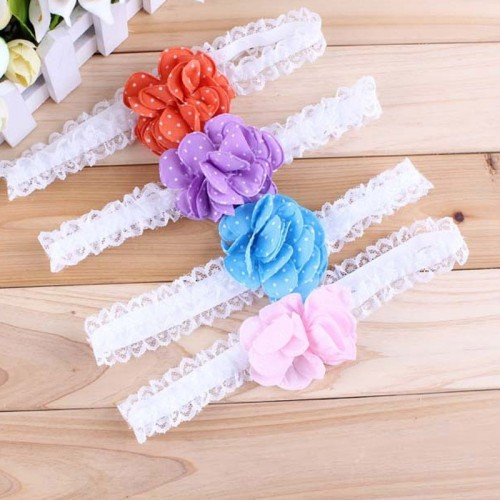 Perfect Padded Polka Flower & Lace Headband