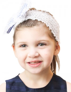 Luxury Lace Headband & Blue Stripe Fabric Bow