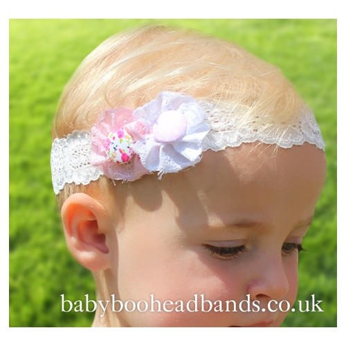Beautiful Vintage Double Button Baby Headband