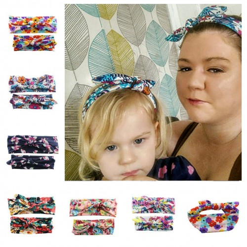 Mum & Me Luxury Fabric Floral Top Knop Headwrap Set