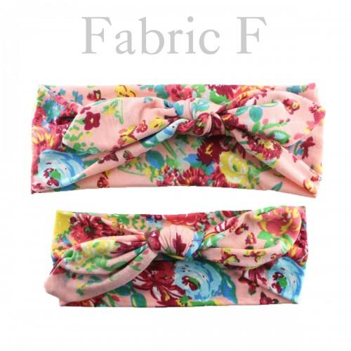 Mum & Me Luxury Fabric Floral Top Knop Headwrap Set