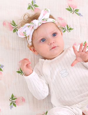 Luxury Swaddle Blanket and Headband Set - Rosey