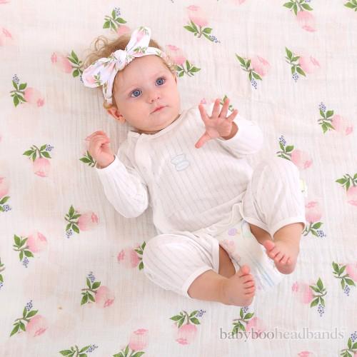 Luxury Swaddle Blanket and Headband Set - Rosey