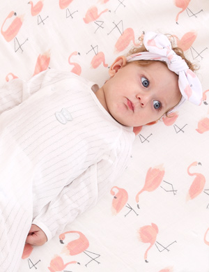 Luxury Swaddle Blanket and Headband Set - Fabulous Flamingo