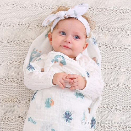 Luxury Swaddle Blanket and Headband Set - Candid Cactus