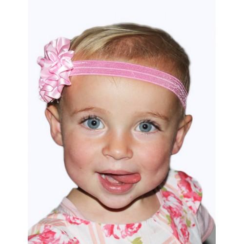 Stretch Baby Headband with Satin Flower