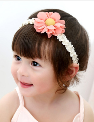 Curly Flower Elastic Lace Baby Headband