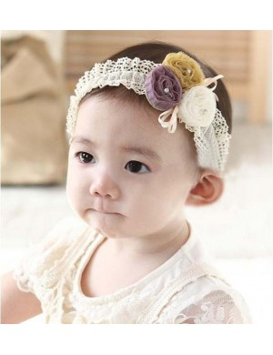 Tricolour Tulle Flower Lace Baby Headband