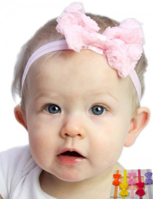 Small Chiffon Tulle Bow Baby Headband
