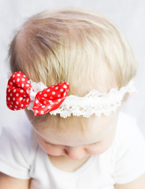 Strawberry bow baby headband