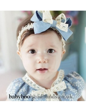 Blue bow baby headband