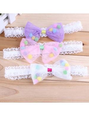 Vibrant Fabric Bow & Soft Lace Headband