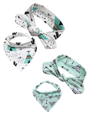 Desert Funk - Bandana Bib and Top Knot Baby Headband