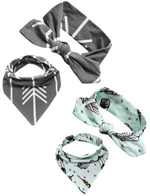 Arrow Adventure Baby Top Knot Headband & Bib Sets
