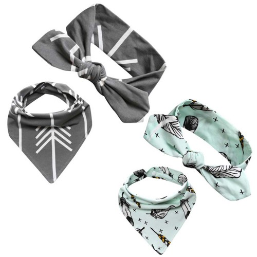 Arrow Adventure Baby Top Knot Headband & Bib Sets