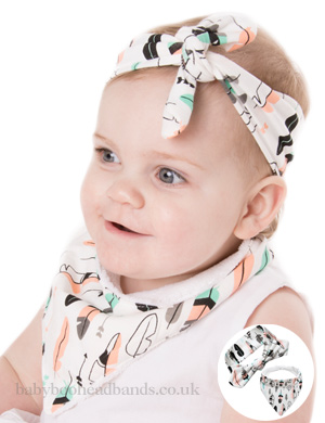 Lux Wool Lined Bib & Baby Headband - Feather Fun