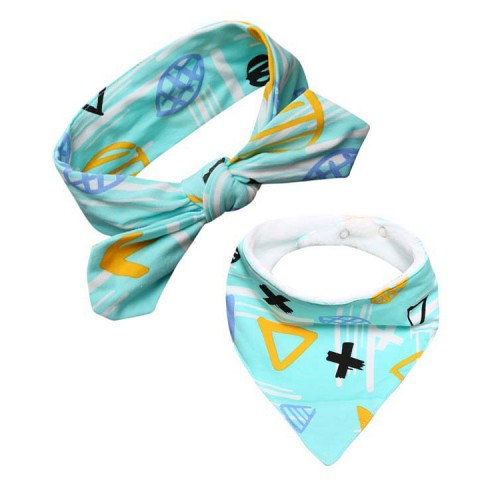 Lux Wool Lined Bib And Baby Headband - Turquoise Trouble