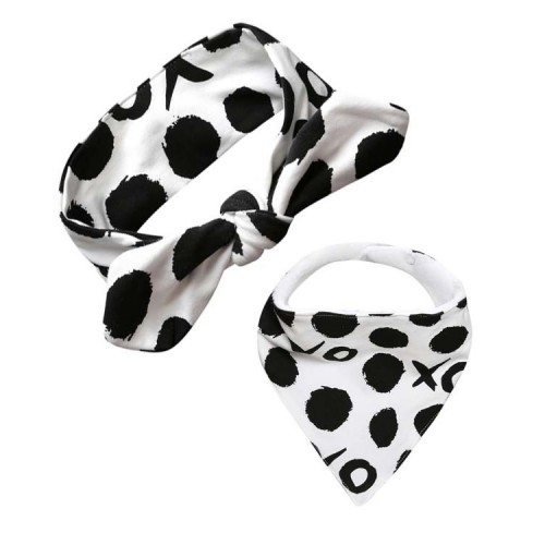 Lux Dribble Bib & Top Knot Baby Headband - Noughts & Crosses