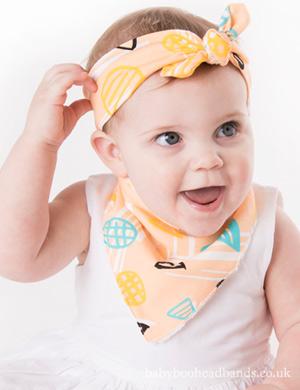 Luxury Bib & Baby headband Set - Peach Perfection