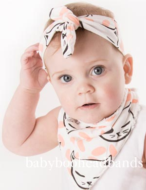 Luxury Bib & Baby Headband Set - Curious Cat