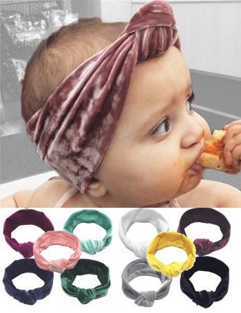 Jasmin - Plush Velvet Vintage Turban Knot Baby Headband